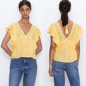 Zara Yellow Embroidered Lace Ruffle Top Size M